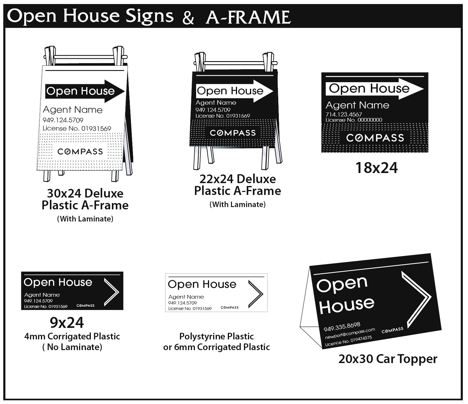 Compass Realty Signs - Real Estate Signs - Open House Signage - For ...