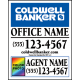 Coldwell Banker For Sale Sign w Agent Info, Office Info, Color Photo, 30x24