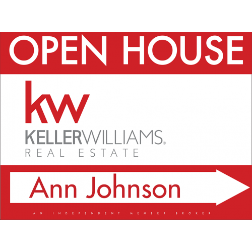 Keller Williams Personalized Open House Sign, 18x24